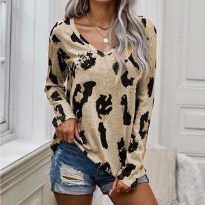 Long Sleeves Leopard Print Blouse